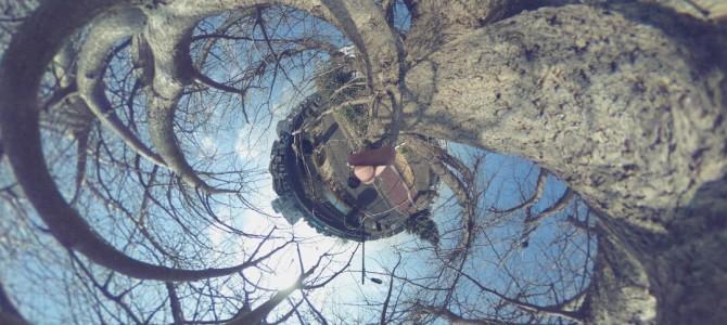 THETA Sで撮る空と森と橋の屋外全天球写真!