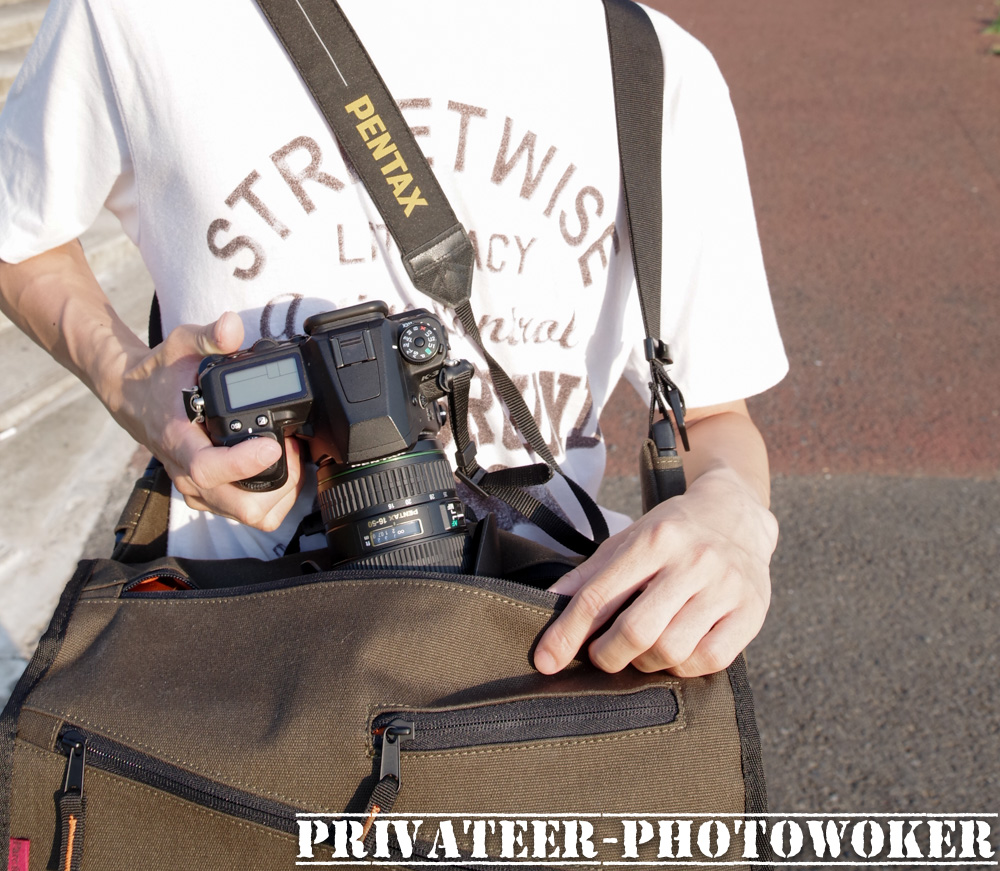 パルクフェルメメッセンジャーカメラバック上部ジッパー
