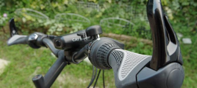 新しいマウンテンバイクに安い自転車用バーエンドグリップ・LEDライト・スマホホルダーを取り付けてみた
