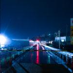大船渡雨の市街地